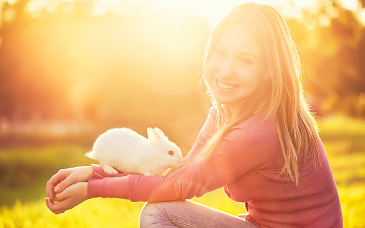 picture of girl with rabbit